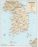 Karte Korea Süd South Republik Republic