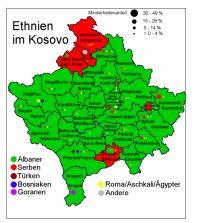 Verteilung der Ethnien im Kosovo 2005