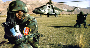 Sinodefence - PLA SOF in Counter-Terrorism Exercise: PLA SOF soldiers in the 2002 joint China-Tajikistan counter-terrorism exercise (Source: Chinese Internet)