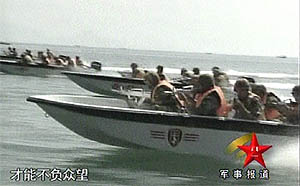 Sinodefence - Sea infiltration Training: PLA SOF soldiers using high-speed boat for sea infiltration training (Source: Chinese Internet)