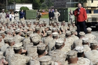 Deputy Defense Secretary William J. Lynn III talks with Marines at Camp Pendleton