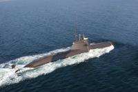 U 31 in Fahrt aus einem SEA KING aufgenommen während einer Formationsfahrt mit den anderen UBoot Klassen der Marine.