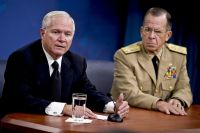Defense Secretary Robert M. Gates and Navy Adm. Mike Mullen, chairman of the Joint Chiefs of Staff, address the media during a press briefing at the Pentagon