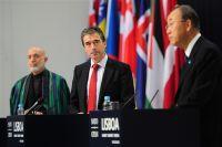 fghan President Hamid Karzai, NATO Secretary General Anders Fogh Rasmussen and U.N. Secretary General Ban Ki-moon conduct a joint press briefing Nov. 20, 2010, in Lisbon