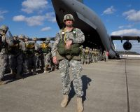 Army 1st Sgt. Mark Heyliger stands before a C-17 Globemaster III prior to an airborne training operation Dec. 1, 2010, at Fort Bragg, N.C. When he enlisted in 1992, Heyliger knew little about the World War II exploits of his grandfather, Army 1st Lt. Frederick