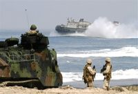 A landing craft heaves through a near-shore swell on the Red Beach coastline on Camp Pendleton, Calif., during assault training exercise Dawn Blitz, June 3, 2010. The weeklong Navy/Marine exercise involved 4,500 sailors and Marines, seven ships, 60 amphibious assault vehicles, 16 landing craft and numerous fixed-wing and rotary aircraft.