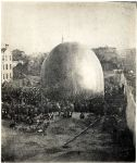 Thaddeus Lowe's balloon Enterprise, which he demonstrated to President Abraham Lincoln, is inflated in Cincinnati in 1861