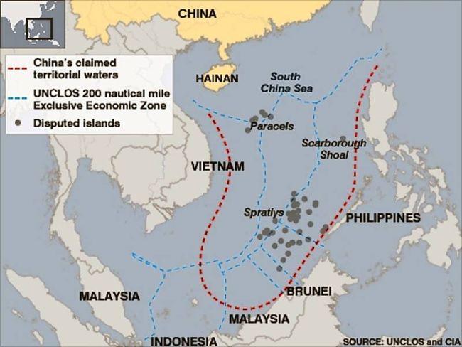 Marineforum - Wirtschaftszonen und chinesische Ansprüche (Karte: Internet)