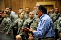 Defense Secretary Leon E. Panetta speaks to troops at Camp Victory, Iraq