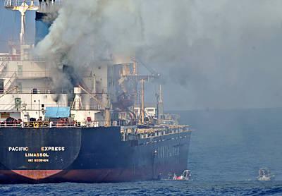 Marineforum - Evakuierung von der brennenden PACIFIC EXPRESS (Foto: ital. Marine)