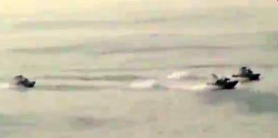 Marineforum - iranische Speedboote nähern sich der NEW ORLEANS (Foto: aus Video der US Navy)