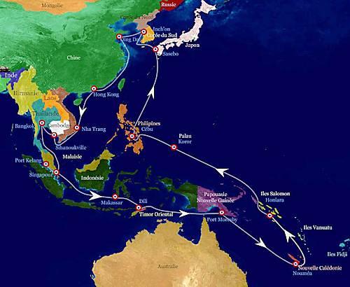 Marineforum - Reiseroute der VENDEMIAIRE (Grafik: franz. Marine)